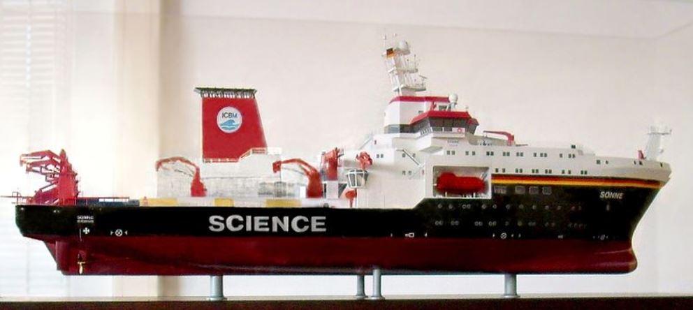 """Wunderwerk der Technik: das Forschungsschiff """"Sonne"""" - hier im Modell. Foto: Markus Bärlocher / Wikimedia Commons (CC0 1.0)"""