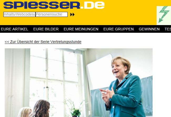 """Die Bundeskanzlerin im Klassenzimmer: Aktuelle Aufmachung der """"Spiesser""""-Homepage. Foto: Screenshot"""