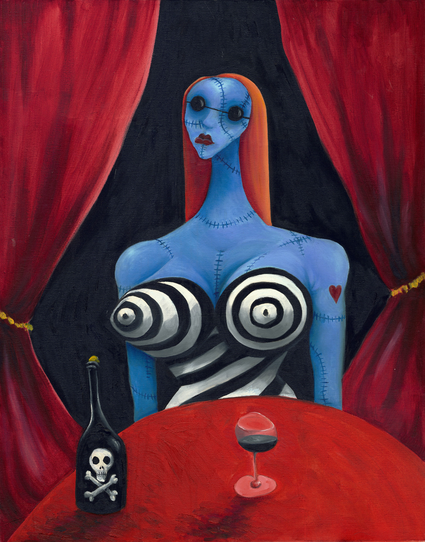 Tim Burton, Blue Girl with Wine, um 1997,