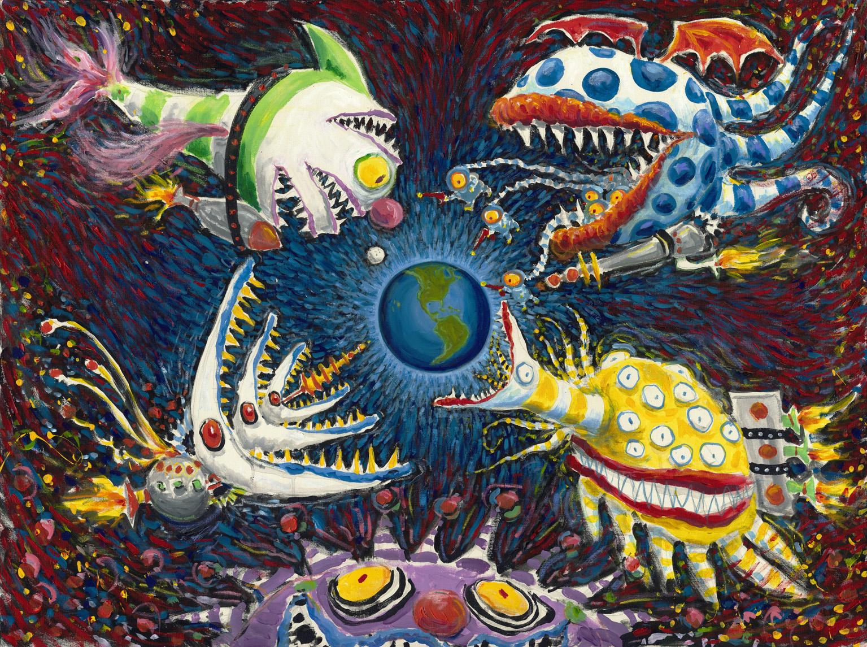 Ist das lustig - oder doch gruselig? Tim Burton, Ohne Titel (Creature Series), um 1980–1989, Tusche, Marker und Buntstift auf Papier, 38,1 x 15,2 cm, Privatsammlung
