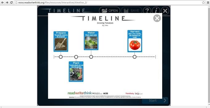 """Nutzer können mit dem Programm """"Timeline"""" eigene Zeitleisten erstellen. Screenshot von http://www.readwritethink.org/files/resources/interactives/timeline_2/"""