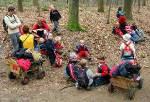 Kinder lernen in und von der Natur; Foto: Gregor Sticker - Waldkindergarten Duesseldorf /Wikimedia Commons (CC BY-SA 2.0) 