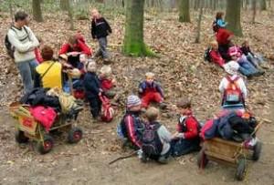 Kinder lernen in und von der Natur; Foto: Gregor Sticker - Waldkindergarten Duesseldorf /Wikimedia Commons (CC BY-SA 2.0)