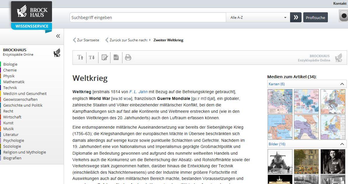 Screenshot aus dem Brockhaus Wissensservice.