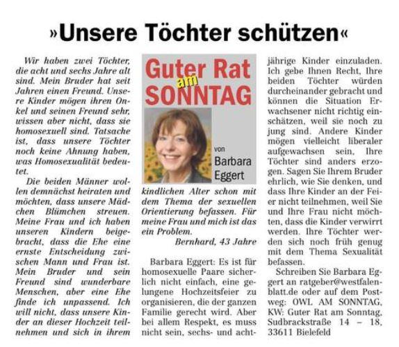 Das ist der umstrittene Beitrag. Screenshot: Westfalen-Blatt