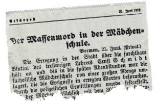 """""""Massenmord in der Mädchenschule"""": So berichtete die """"Reichpost"""" über das Geschehen in Bremen. Faksimile: News4teachers"""