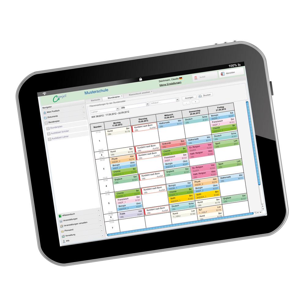 Das ist nicht das gescheiterte digitale Klassenbuch - sondern ein funktionierender digitaler Stundenplan, auf dem Stundenausfall, Stundenvertretung und Klassenarbeiten vermerkt sind. Foto: Comjell
