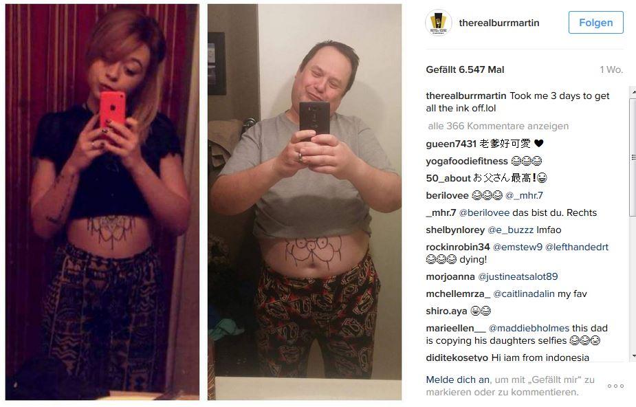 Mit den eigenen Waffen geschlagen: Instagram-Post von Burr Martin. Screenshot