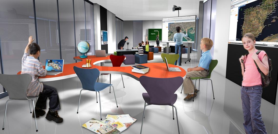 """So stellt sich Microsoft das Klassenzimmer der Zukunft vor. """"Schulen müssen sich mehr denn je an der Lebenswelt der Kinder und Jugendlichen wie auch den Anforderungen der Berufswelt orientieren und den Einsatz neuer Medien im Unterricht fördern"""", sagt Microsoft-Deutschland-Chef Achim Berg. Foto: Microsoft GmbH"""
