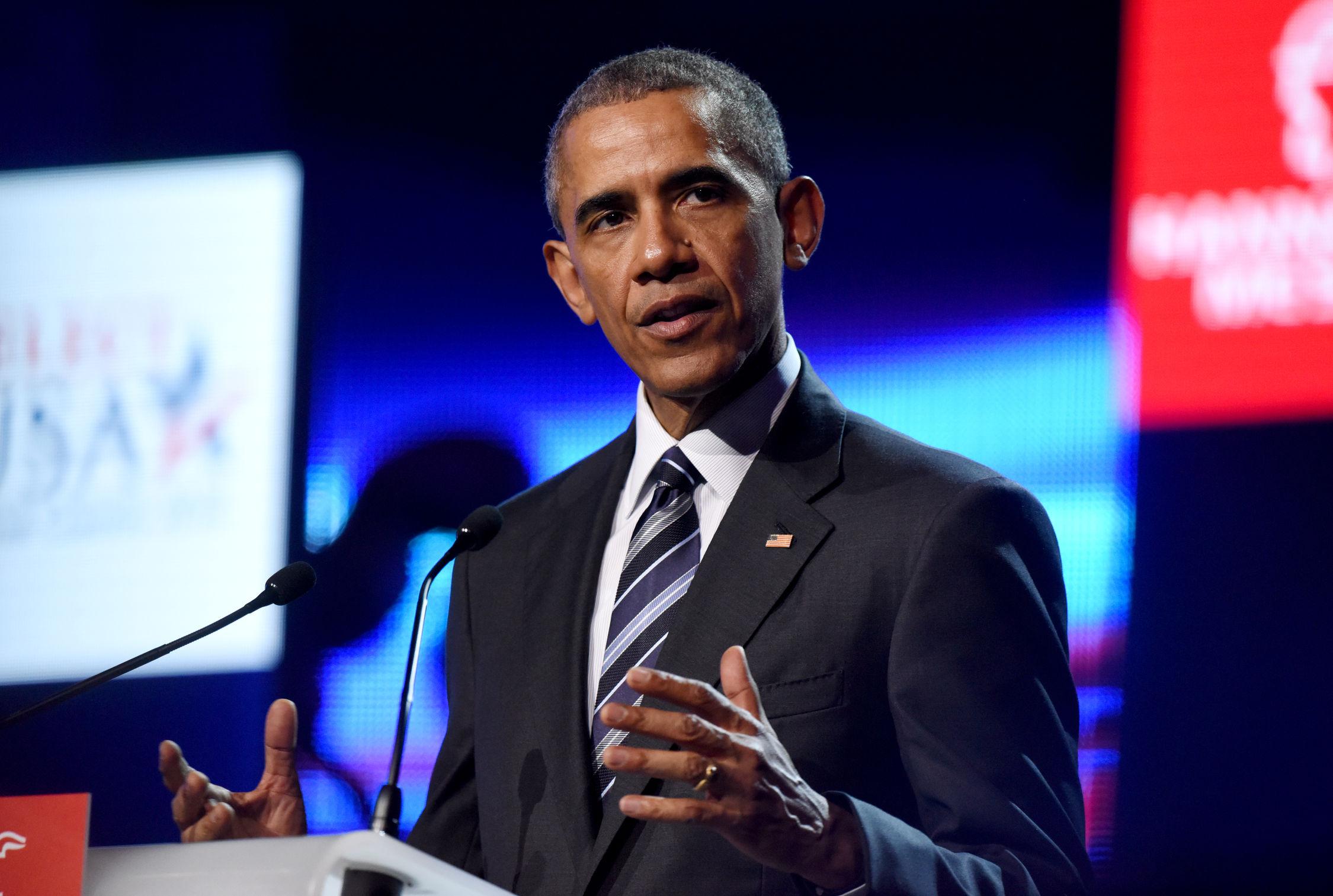 Ihm schlägt Skepsis entgegen: US-Präsident Obama auf der Eröffnungsfeier der HANNOVER MESSE am 24. April 2015 im Hannover Congress Centrum. Foto: Hannover Messe