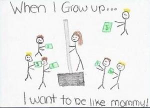 """""""Wenn ich groß bin, möchte ich sein wie Mami"""". Illustration: funnyexam.com"""