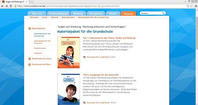 """Zum Materialpaket """"Augen auf Werbung"""" für die Grundschule gehören sowohl Sachinformationen als auch didaktische Anregungen und Begleitmaterialien für den Unterricht. Screenshot von https://www.mediasmart.de/verein/material/materialpakete/materialpaket-fuer-die-grundschule.html"""