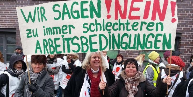Streikende Lehrerinnen in Berlin zum Auftakt der jüngsten Warnstreik-Welle im Februar. Foto: GEW Berlin
