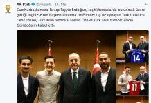 Die AKP, die türkische Regierungspartei, verbreitete Fotos vom Treffen der Fußballer mit Erdogan über ihren Twitter-Account. Screenshot