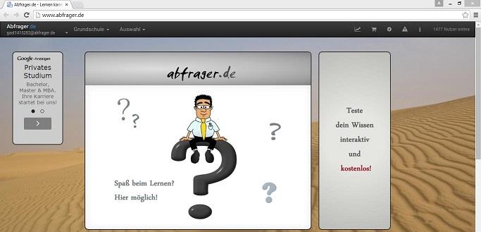Die Internetseite Abfrager.de bietet kostenlos Übungsaufgaben für Schüler aller Schulformen. Screenshot: www.abfrager.de