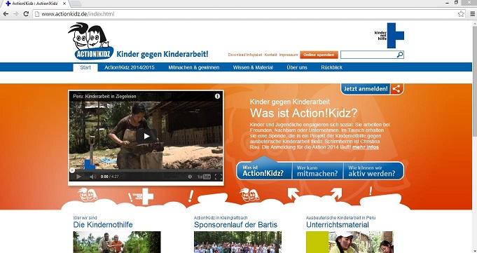 Schüler können als Gruppe in Begleitung eines Erwachsenen am Wettbewerb teilnehmen. Screenshot von www.actionkidz.de