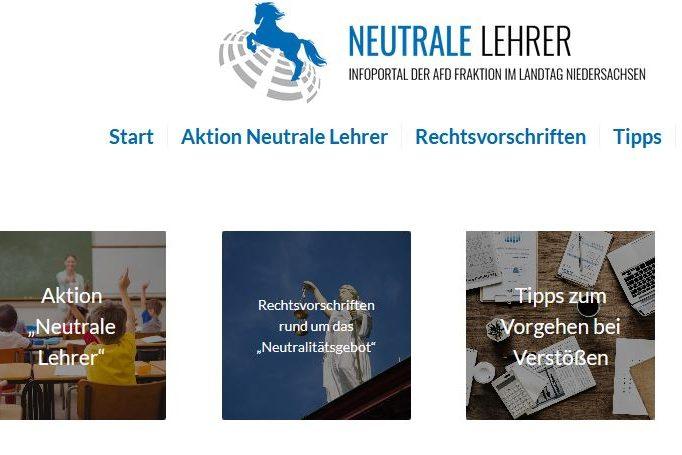 """Dass """"Meldeportal"""" der AfD in Niedersachsen präsentiert sich staatstragend als """" Aktion neutrale Lehrer"""". Screenshot"""