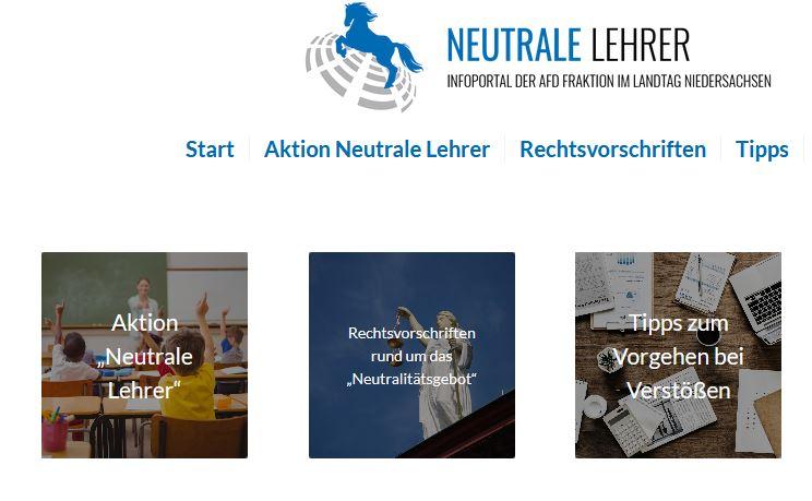 """Dass """"Meldeportal"""" der AfD in Niedersachsen präsentiert sich staatstragend. Screenshot"""