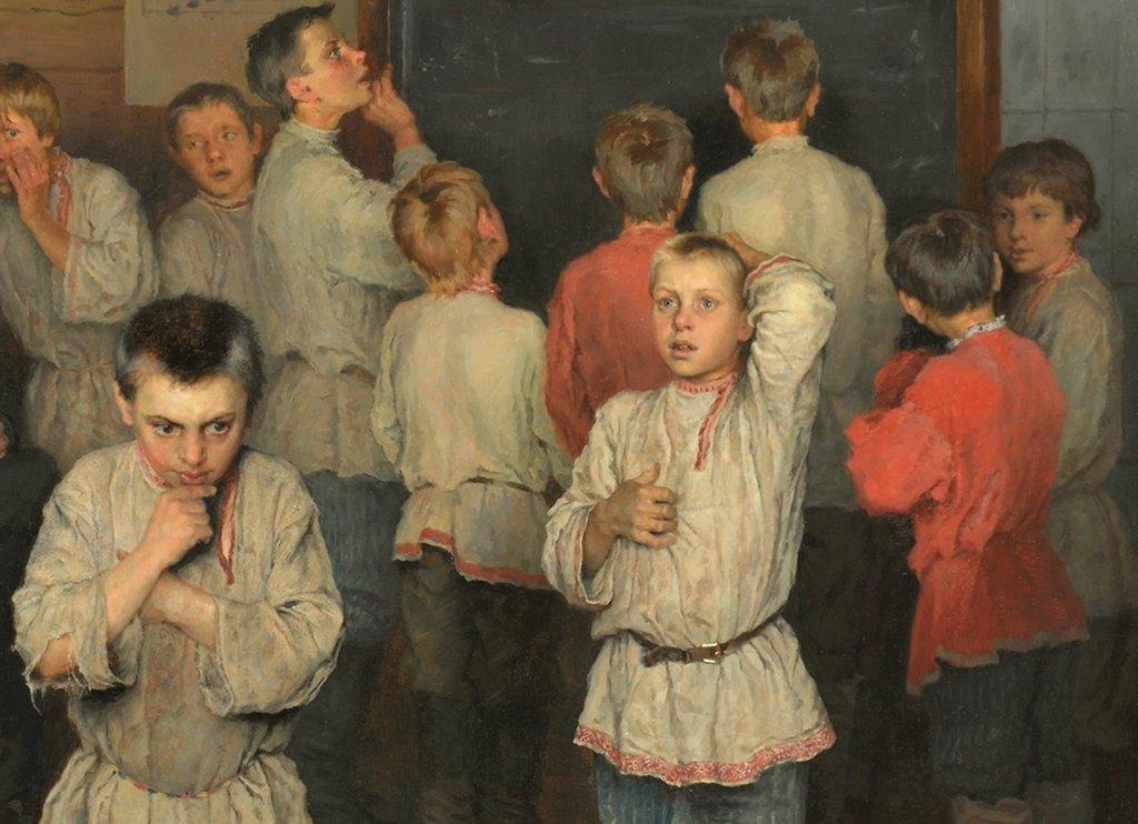 Ausgrenzung entsteht nicht immer gezielt. (Nikolai Bogdanov-Belsky: Jungenklasse, 1895, Tretjakow-Galerie, Moskau / Wikimedia Commons (gemeinfrei))