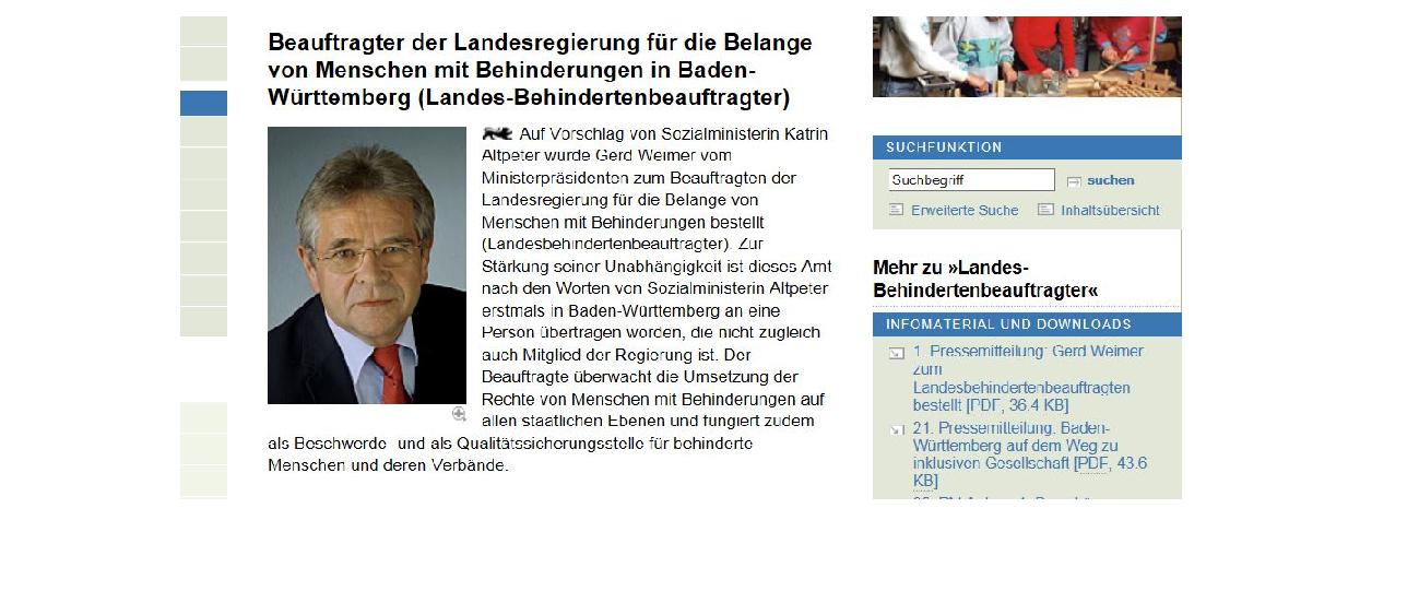 Screenshot vom Auftritt des Landesbehindertenbeauftragten auf der Seite des baden-württembergischen Sozialministeriums.