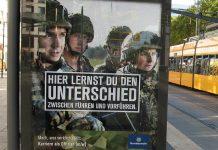 Kampagnenplakat der Bundeswehr (in Dresden). Als Arbeitgeber in Schulen werben zu können, ist ein erheblicher Vorteil bei der Personalgewinnung. Foto Lupus in Saxonia / Wikimedia Commons (CC BY-SA 4.0)