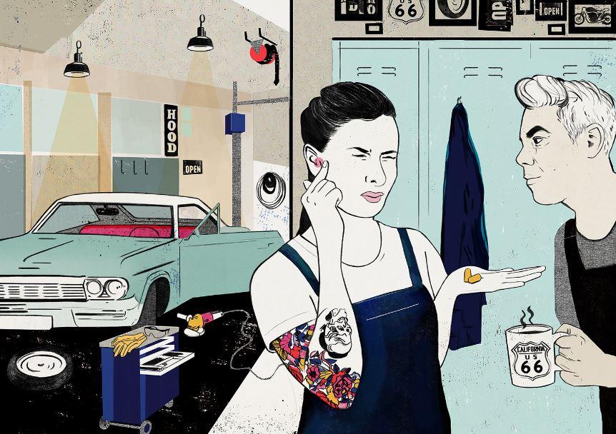 """Die Ausstellung spricht junge Leute an. Die Illustration zeigt den Charakter """"Sandra"""", Karosseriemechanikerin. Bildrecht: Laura Laakso / DASA"""