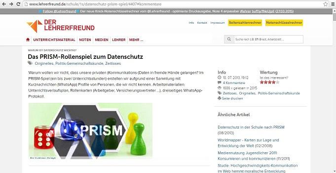 """Mit dem Rollenspiel """"PRISM"""" für den Unterriht sollen Schüler für den Datenschutz sensibilisiert werden. Screenshot von http://www.lehrerfreund.de/schule/1s/datenschutz-prism-spiel/4407"""