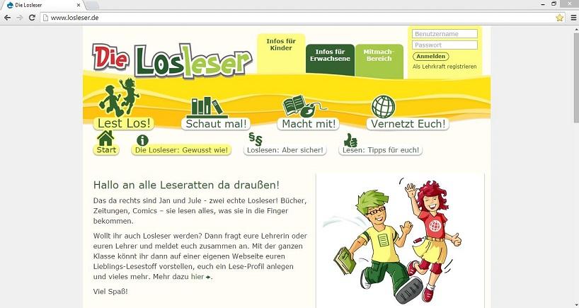 """Auf der Internetplattform """"Die Losleser"""" können Schüler für ihre Lieblingsbücher eigene Internetseiten anlegen und sich über die Lieblingsbücher anderer Kinder informieren. Screenshot von www.losleser.de"""