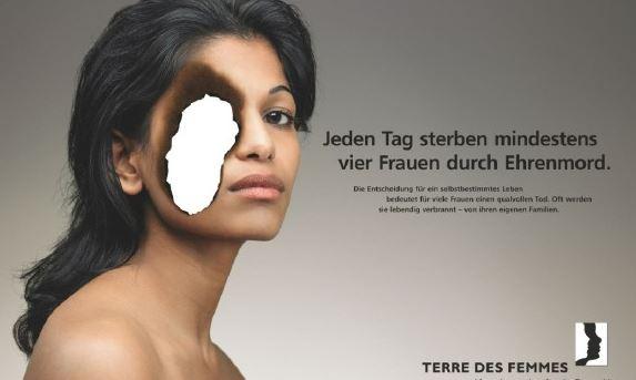 Plakat gegen sogenannten Ehrenmord der Frauenrechts-Organisation Terre des Femmes.