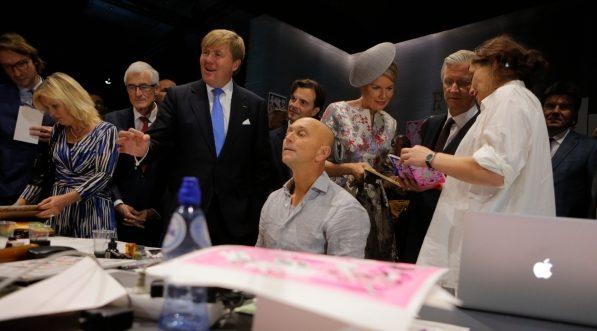Eröffnung des Ehrengast-Pavillons durch den niederlänischen König Willem-Alexander sowie das belgische Königspaar Mathilde und Philippe. Foto: Frankfurter Buchmesse / Alexander Heimann.