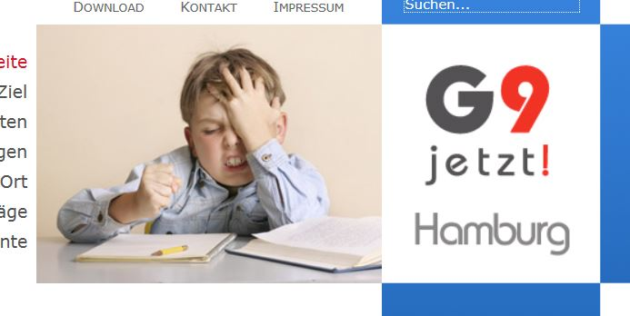 Homepage der Initiative «G9-Jetzt-HH», Screenshot.