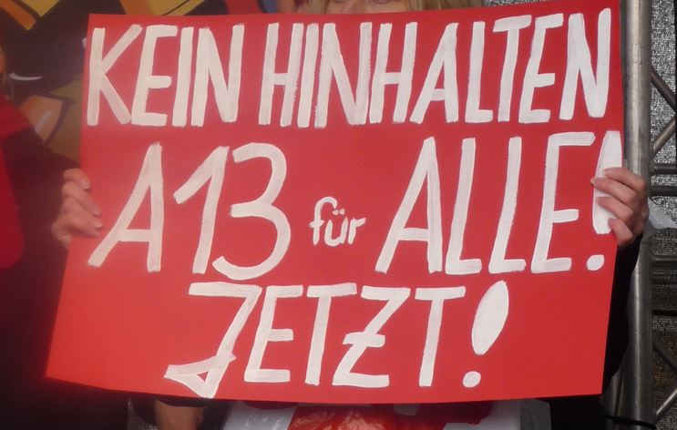 """Bundesweit laufen derzeit Aktionen unter dem Motto """"A13 für alle"""". Foto: GEW Schleswig-Holstein"""
