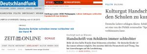 """Alle relevanten Medien in Deutschland berichten heute über das Thema """"Handschreiben"""". Screenshots"""