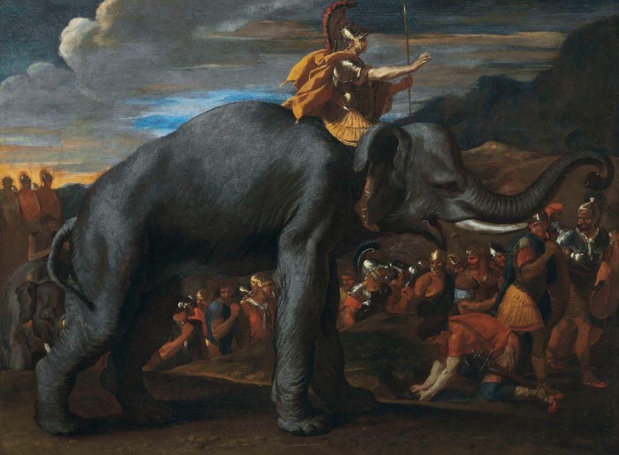 Hannibal überquert die Alpen auf einem Elefanten - Gemälde von Nicolas Poussin aus dem Jahr 1625. Foto: Wikipedia Commons