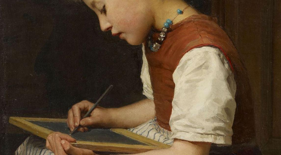 Hausaufgaben gehören sei je her zum pädagogischen Instrumentarium - bringen aber vergleichsweise wenig. Das Gemälde stammt von 1879 (Albert Anker, Schulmädchen bei den Hausaufgaben). Repro: Wikimedia Commons