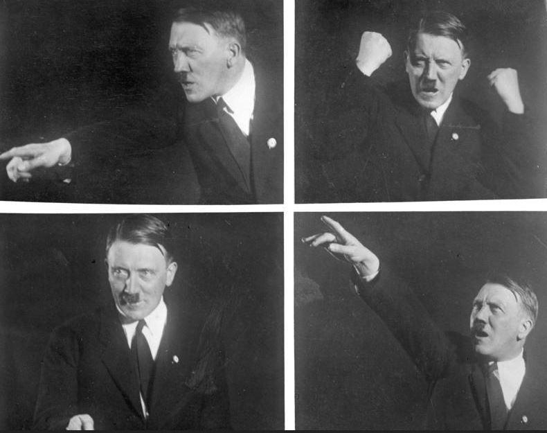 Stand im Mittelpunkt von Noltes Forschungsarbeit: Hitler (hier beim Üben von Rednerposen). Foto: Wikimedia Commons