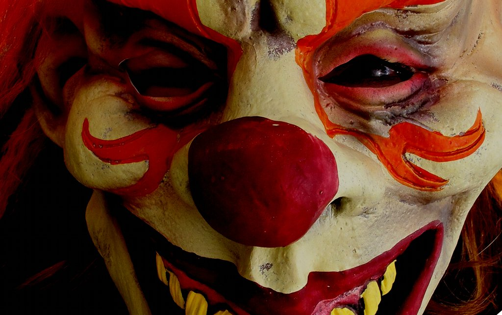 Horror-Clown Gesicht in Nahaufnahme