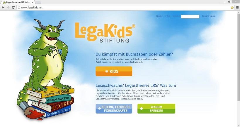Eine Lernschwäche wie Legasthenie stellt nicht nur die betroffenen Kinder vor Herausforderungen. Daher bietet das Internetprojekt der Stiftung LegaKids auch eine Informationsseite für Erwachsene. Screenshot von www.legakids.net