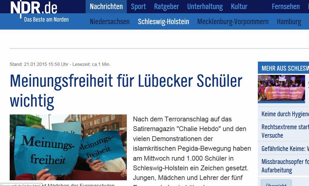 So berichtete der NDR über die Schüler-Demo. Screenshot