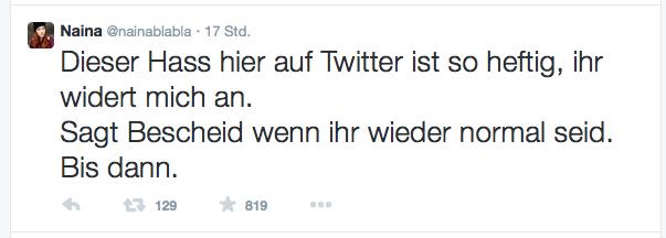 Nach dem Wirbel um ihre Schulkritik hört die Kölner Schülerin Naina zunächst bis auf weiteres auf zu twittern. Screenshot.