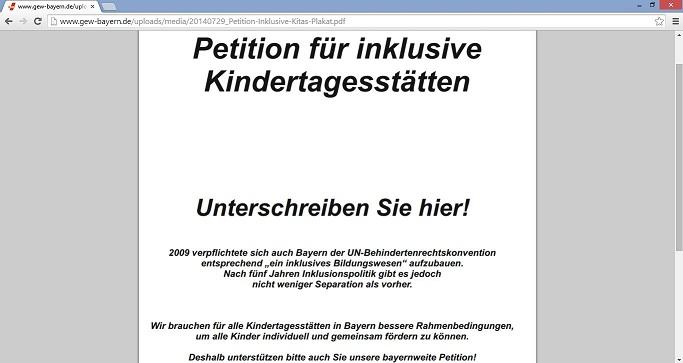 Die GEW Bayern will zusammen mit seinen Bündnispartnern die Inklusion in den Kindertagesstätten des Freistaats verbessern. Screenshot von www.gew-bayern.de
