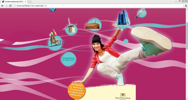 Ob auf der Wissens- oder künstlerischen Ebene - Teilnehmern stehen drei Wettbewerbsformen zur Auswahl um sich mit den baltischen Ländern auseinanderzusetzen. Screenshot von www.nachbarn-im-osten.de