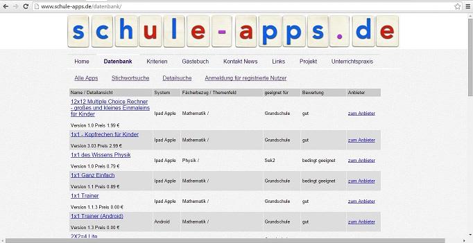 Die Online-Datenbank bietet viele Informationen, unter anderem eine Bewertung der Apps nach bestimmten Kriterien. Screenshot von http://www.schule-apps.de/datenbank/