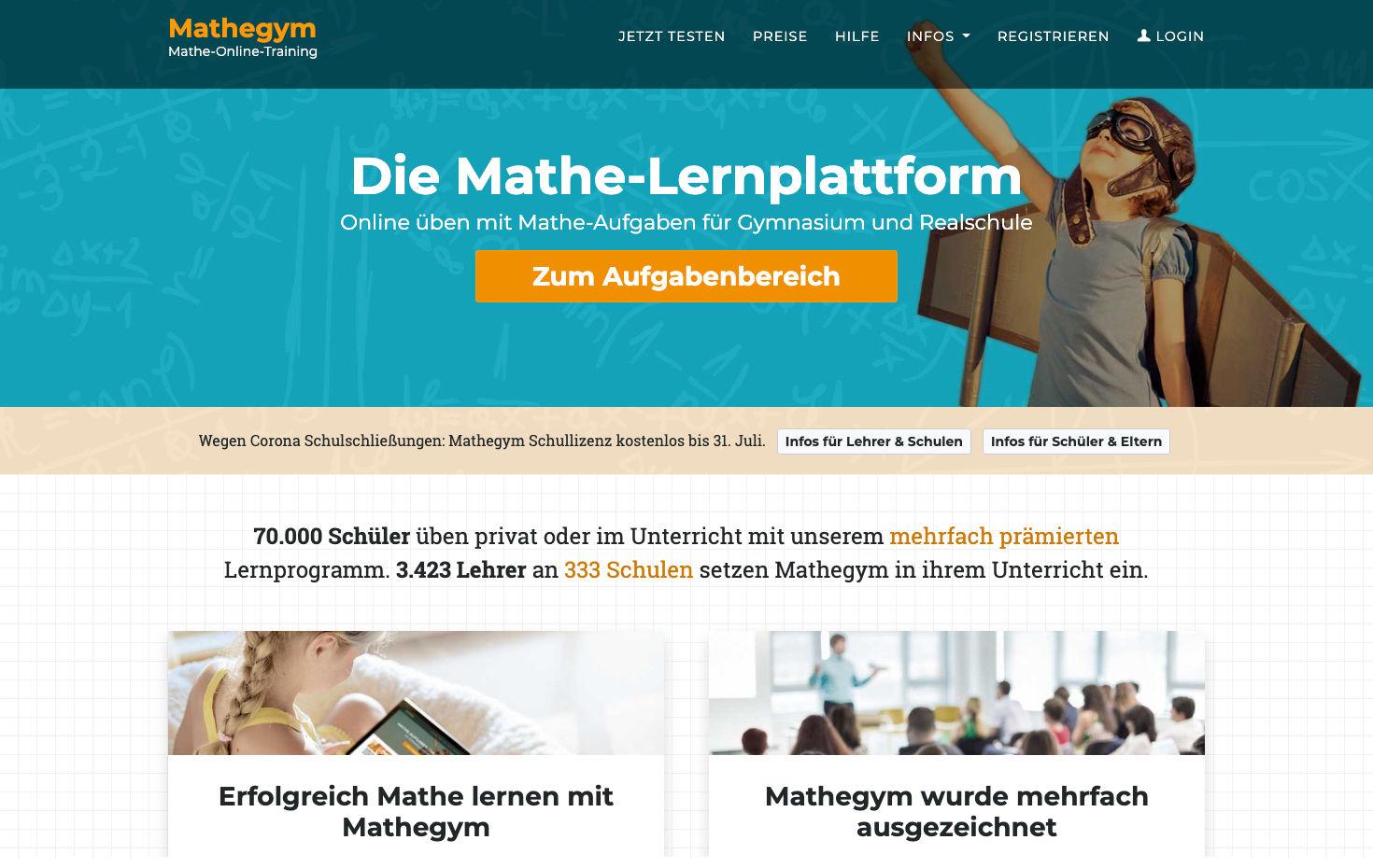 Mathegym unterstützt alle Schulen Deutschlands mit kostenfreier ...