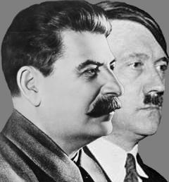 "(Fotomontage: ""Stalin/Hitler"": Urheber Евгений Пивоваров/Wikimedia CC BY-SA 2.0)"