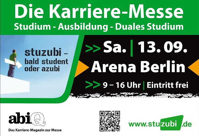 """Am 13. September können sich interessierte Schüler in der Arena Berlin auf der Karrieremesse """"Stuzubi"""" über mögliche Berufswege und Studienangebote informieren. Quelle: Stuzubi-Berlin 2014"""