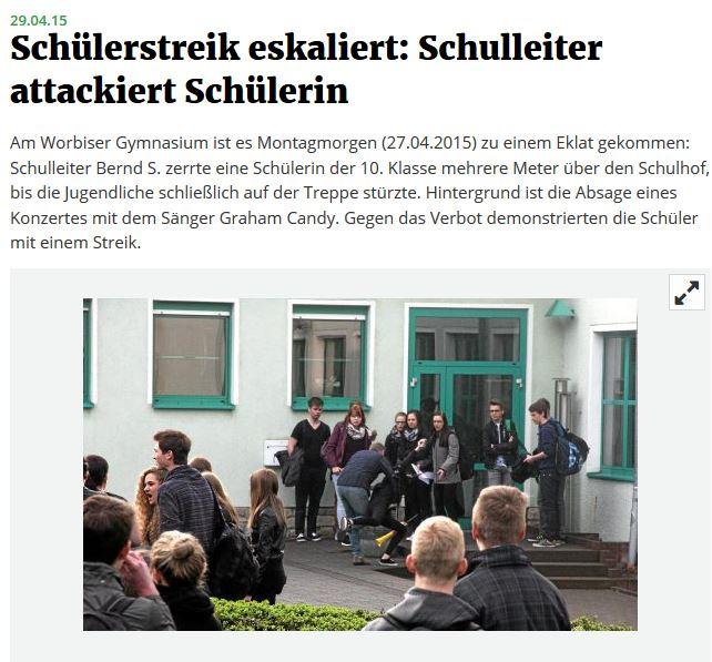 Screenshot vom Bericht der Thüringer Allgemeinen.