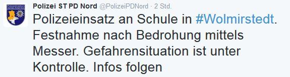Die Twitter-Nachricht der Polizei heute morgen. Screenshot