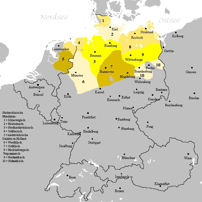 Verbreitungsgebiet der heutigen niederdeutschen Mundarten. Karte: Wikimedia Commons