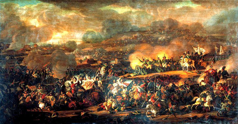 Die Völkerschlacht bei Leipzig jährt sich in diesen Tagen zum 200.Mal. Gemälde von Vladimir Ivanovich Moshkov.